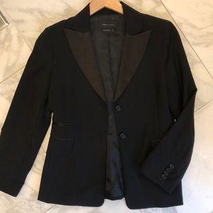 BCBG MaxAzria black tuxedo jacket satin lapel